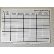 "Rocada Skin Magnetic Dry Erase Board 29.5"" x 45.29"", White with Black Weekly Planner Grid (RD-6420WP)"