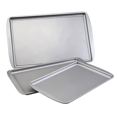 Farberware Bakeware Steel 3-Piece Cookie Pan Set, Gray (52019)