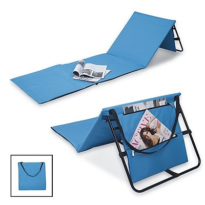 Danya B. Set of 2 Portable Beach Lounge Chairs with Pockets and Carry Straps, Blue (DG20092BL)