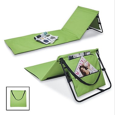Danya B Portable Beach Lounge Chairs with Pockets and Carry Straps, Green, 2/Set (DG20092GR)
