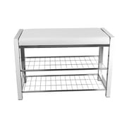 Danya B. Storage Entryway Bench White Leatherette with Chrome Frame (HA16832)