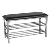 Danya B. Storage Entryway Bench Black Leatherette with Chrome Frame (HA83168)