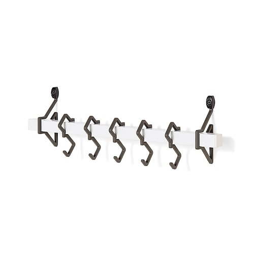 Danya B. 19 in. Metal White Wall Mount Rack with Grey Hanging Hooks ...