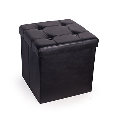 Danya B. Folding Storage Ottoman with Buttons -Black Faux Leather (WX15302BK)