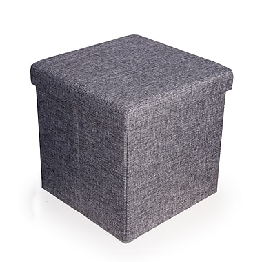 Danya B Folding Storage Ottoman, Grey Canvas (WX15317GR)
