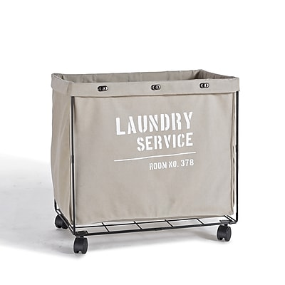Danya B. Army Canvas Laundry Hamper on Wheels (LY207)