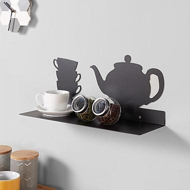Danya B Metal Kitchen Utility Shelf with Teapot and Coffee Cups Design, Black (WL045TE)