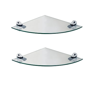 Danya B Glass Radial Floating Shelves with Chrome Brackets, Clear, 2/Pack (WL2525C)