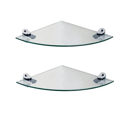 Set of 2 Clear Glass Radial Floating Shelves with Chrome Brackets 10 x 10