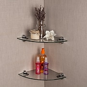 """Set of 2 Clear Glass Radial Floating Shelves with Chrome Brackets 10 x 10"""" (WL2525C)"""