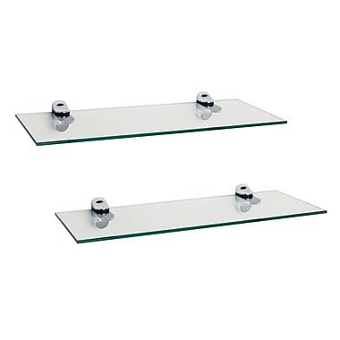 Danya B Glass Floating Shelves with Chrome Brackets, Clear, 2/Pack (WL4015C)