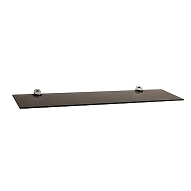 Danya B Glass Floating Shelf with Chrome Brackets, Black Smoke (WL6015B)