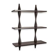 Danya B. Three Level Shelving System with Decorative Undulating Brackets - Walnut (WL-LAVA)