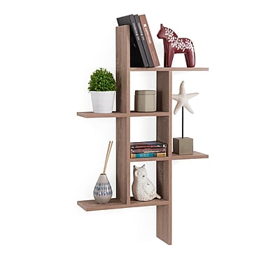 Danya B Cantilever Wall Shelf, Weathered Oak (XF160708OK)
