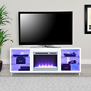 """Ameriwood Home Lumina Fireplace TV Stand for TVs up to 70"""" Wide, White (1822096COM)"""
