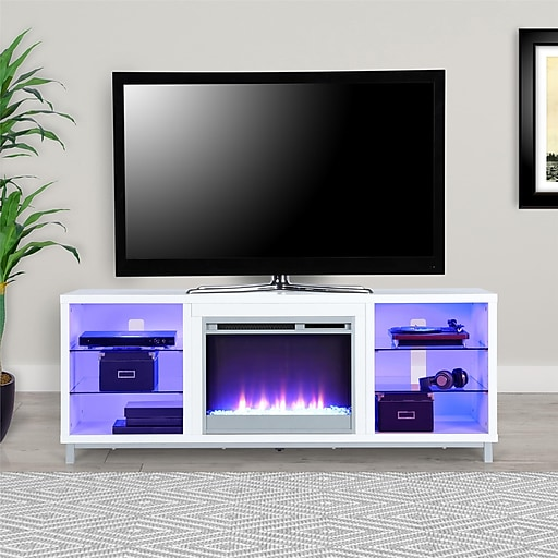 Shop Staples For Ameriwood Home Lumina Fireplace Tv Stand