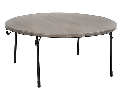 COSCO 48 in. Round Fold in Half Table, Light Gray Wood Grain with Black Frame (14165LGW1E)