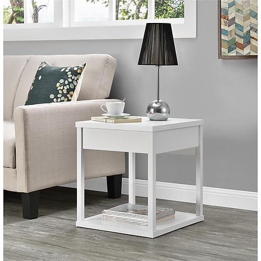 Ameriwood Home Parsons End Table With Drawer White