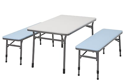 COSCO Kids Adjustable Height 3 Piece Set, 2 Benches, 1 Table, Blue with Charcoal Frame (37330LBL1E)