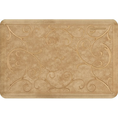 Wellnessmats® Estates Bella 3' x 2' Anti-Fatigue Floor Mat, Aztec Gold (EB32WMRBGTAN)