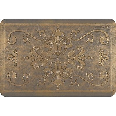 Wellnessmats® Estates Entwine 3' x 2' Anti-Fatigue Floor Mat, Antique Gold (EE32WMRBGGRY)