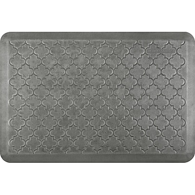 Wellnessmats® Estates Trellis 3' x 2' Anti-Fatigue Floor Mat,Silver Leaf (ET32WMRSL)