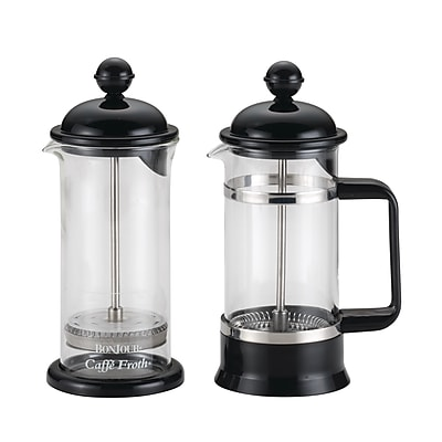 BonJour 3 Cup/12.7 oz. La Petite French Press and Frother Set, Black (53521)