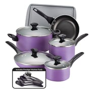 Farberware Dishwasher Safe Nonstick Aluminum 15 Piece Cookware Set, Purple (21895)