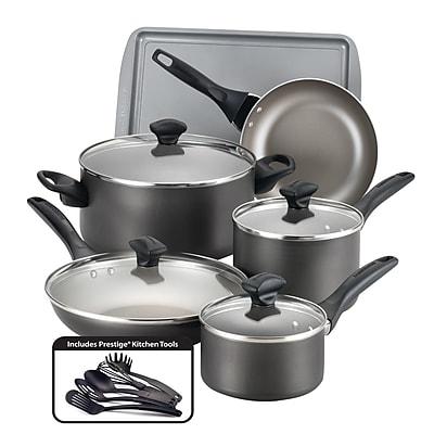 Farberware Dishwasher Safe Nonstick Aluminum 15 Piece Cookware Set, Pewter (21896)