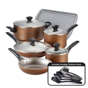 Farberware Dishwasher Safe Nonstick 15 Piece Cookware Set, Copper (21890)