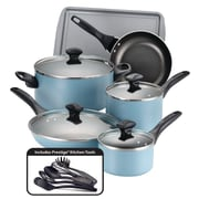 Farberware Dishwasher Safe Nonstick 15 Piece Cookware Set, Aqua (21894)