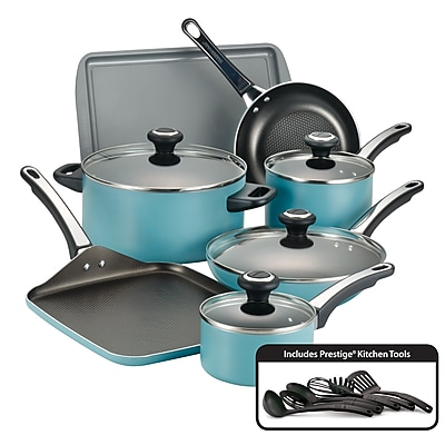 Farberware High Performance Nonstick 17 Piece Cookware Set, Aqua (21926)