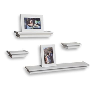 Danya B Cornice Ledge Shelves with 2 Photo Frames, White, 4/Pack (BR002WH)