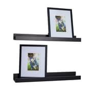 Danya B. Set of 2 Ledge Shelves with 2 Photo Frames - Black (BR005BK)