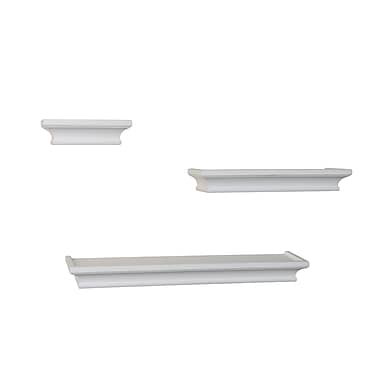 Danya B Cornice Ledge Shelves, White, 3/Pack (BR4001WH)