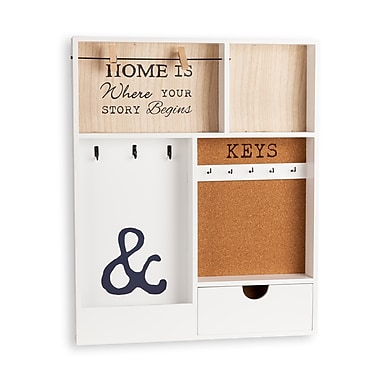 Danya B Entryway Key/Mail Holder Wall Organizer (KS19053WH)