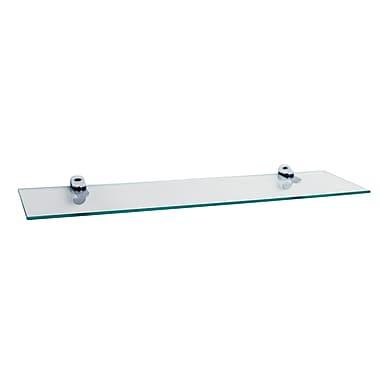 Danya B Glass Floating Shelf with Chrome Brackets, Clear (WL6015C)