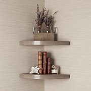 Danya B. Rustic Weathered Oak Corner Radial Shelves (Set of 2) ( XF11115-2OK)