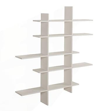 Danya B Five Level Asymmetric Wall Shelf, White (XF151204WH)