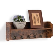 Danya B. Utility Wall Shelf with Hooks - Aged Wood (XF161206PI)