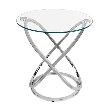 Danya B Galaxy Chrome and Tempered Glass Round End Table (HA01516)