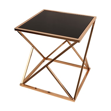 Danya B. Square Rose Gold End Table with Black Glass top (HA15708)