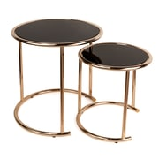 Danya B. Set of 2 Nested Round End Tables with Black Glass-top and Rose Gold Metal Frame (HA15904)