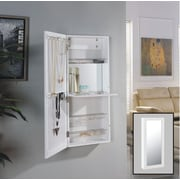 Danya B. White Over the Door Jewelry and Makeup Cabinet Mirror with Interior Mirror and Drop Down Shelf (JT6305)