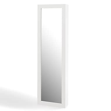 Danya B. White Over the Door Jewelry and Makeup Full Size Cabinet Mirror with Interior Mirror and Drop Down Shelf (JT6366)