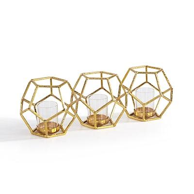 Danya B. Sparkling Gold Polyhedron Triple Candle Holder (DS074) 24215903