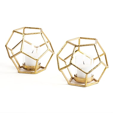 Danya B Sparkling Gold Polyhedron Candle Holder with Glass, 2/Pack (DS075)