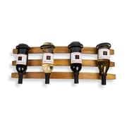 Danya B. Horizontal Triple Stave Wood and Iron Rustic 4 Bottle Wall Mount Wine Holder (FU41165)