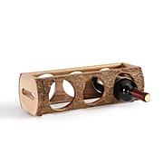 Danya B. Stackable Three Bottle Wine Holder Log, Acacia Wood with Bark (WS16139)