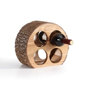 Danya B. Round Four Bottle Wine Holder, Acacia Wood with Bark (WS16228)